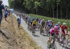 O jérsei amarelo no Peloton - Tour de France 2018 Fotografia de Stock Royalty Free