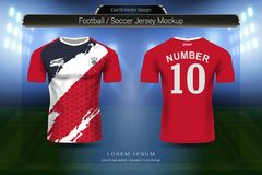 O jérsei e o t-shirt de futebol ostentam o molde do modelo, o projeto gráfico para o jogo do futebol ou os uniformes do activewea ilustração royalty free