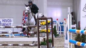 O jóquei profissional e seu cavalo saltam sobre a barreira Movimento lento filme
