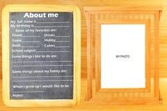 O Ja myself frazuje pojęcie tekst w blackboard z ramowym pokojem dla fotografii lub teksta Zdjęcia Royalty Free