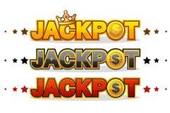 O JACKPOT ganha o símbolo de brilho do texto do vencedor do jogo do dinheiro isolado no branco ilustração do vetor
