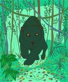 O jaguar preto é um animal-melanistic muito bonito ilustração stock