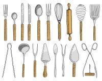 O jantar ou o petisco bifurcam-se para ostras, colher do gelado e faca para a sobremesa ou a manteiga e o cozimento utensílios da ilustração do vetor