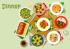 O jantar torna côncavo o ícone com massa, salada e carne ilustração do vetor