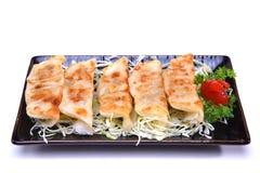 O japonês Pan Fried Dumplings, Gyoza isolou-se no backgroun branco Fotos de Stock Royalty Free