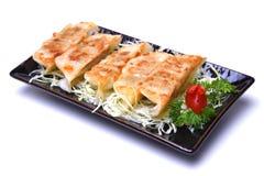 O japonês Pan Fried Dumplings, Gyoza isolou-se no backgroun branco Imagens de Stock Royalty Free