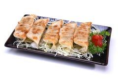 O japonês Pan Fried Dumplings, Gyoza isolou-se no backgroun branco Imagem de Stock