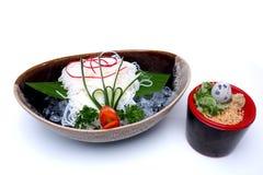 O japonês refrigerou macarronetes ou Hiyashi Somen servido com mergulho do sa Fotos de Stock Royalty Free