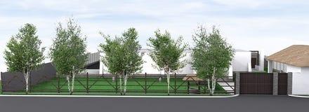 O jardim da frente do projeto da paisagem, 3D rende Imagem de Stock Royalty Free