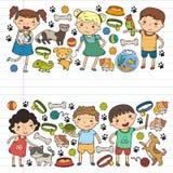 O jardim de infância veterinário da loja de animais de estimação do jardim zoológico das crianças caçoa com cão, hamster, animais ilustração royalty free