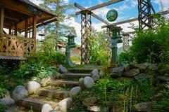 O jardim, decorado no estilo oriental Imagem de Stock