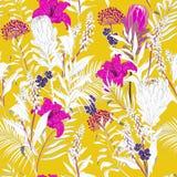 O jardim inacabado bonito colorido do verão floresce o esboço em h ilustração do vetor