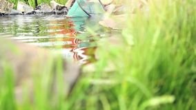 O jardineiro limpa a lagoa com uma rede, nadando a lagoa filme