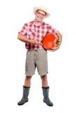 O jardineiro oferece o grande tomate vermelho Fotos de Stock Royalty Free