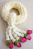 O jasmim branco da festão de aromático com aumentou Imagem de Stock Royalty Free