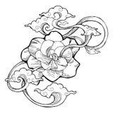 O jasmim de cabo, o jasmim da gardênia e a nuvem do aroma projetam pela tatuagem do desenho da tinta com fundo isolado branco ilustração stock