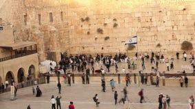 O Jerusalém, parede ocidental, Timelapse, pessoa na área, muitos povos, povos reza na parede de pedra, parede lamentando filme