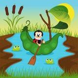 O joaninha flutua em ervilhas no rio