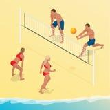 O jogador da bola da salva da praia salta na rede e tenta blocos a bola Conceito ativo do feriado do verão Vetor isométrico Foto de Stock Royalty Free