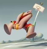 O jogador de basquetebol salta a placa da ilustração do úmido Imagens de Stock