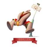 O jogador de basquetebol salta a placa da ilustração do úmido Imagem de Stock