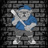 O jogador de beisebol do buldogue da ilustração do vetor bate uma bola - vetor ilustração stock