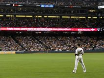 O jogador de campo adequado Carlos Beltran de Giants está na parte exterior do campo Imagens de Stock
