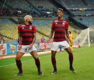 O jogador de futebol Gabriel Gabigol comemora fotografia de stock royalty free