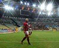 O jogador de futebol Gabriel Gabigol comemora foto de stock