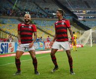 O jogador de futebol Gabriel Gabigol comemora fotos de stock royalty free