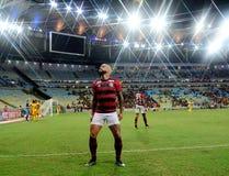 O jogador de futebol Gabriel Gabigol comemora imagem de stock royalty free