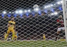 O jogador de futebol Gabriel Gabigol comemora imagens de stock royalty free