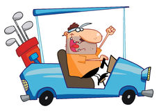 O jogador de golfe feliz conduz o carro de golfe ilustração stock
