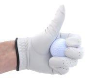 O jogador de golfe que dá os polegares levanta o sinal Imagens de Stock