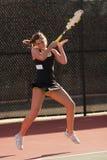 O jogador de ténis fêmea termina segue completamente Imagem de Stock Royalty Free