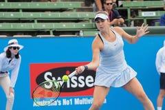 O jogador de tênis Belinda Bencic que prepara-se para o australiano abre no competiam clássico da exposição de Kooyong Foto de Stock