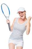 O jogador de tênis fêmea de vencimento está feliz em um branco Foto de Stock Royalty Free
