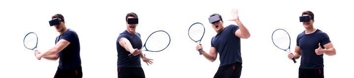O jogador de tênis masculino que veste vidros da realidade virtual VR isolou o fotografia de stock