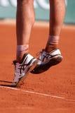 O jogador de tênis profissional Richard Gasquet de França veste sapatas feitas sob encomenda da definição do gel de Asics durante Imagens de Stock Royalty Free