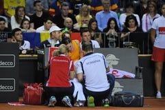 O jogador de tênis Simona Halep sofreu um acidente Foto de Stock Royalty Free