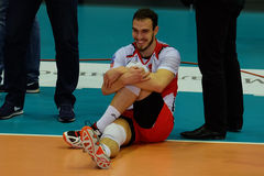 O jogador de voleibol Marko Ivovic, clube Belogorye do voleibol Rússia Belgorod Imagem de Stock