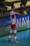 O jogador de voleibol Marko Ivovic, clube Belogorye do voleibol Rússia Belgorod fotos de stock