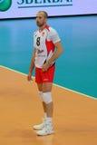 O jogador de voleibol Sergey Tetyukhin, clube Belogorye do voleibol Rússia Belgorod Foto de Stock Royalty Free