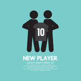 O jogador do futebol/futebol que mostra uma camisa com Team Manager Imagens de Stock