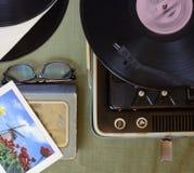 O jogador do vintage de registros de vinil Imagem de Stock