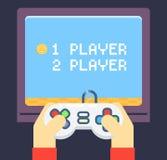 O jogador retro dos jogos entrega o monitor da tevê do manche ilustração do vetor
