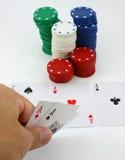 O jogador tem os ás do bolso, quatro de um tipo Imagens de Stock
