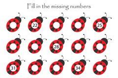 O jogo com os joaninhas para crianças, preenche os números faltantes, nível médio, jogo para crianças, atividade da educação da f ilustração royalty free