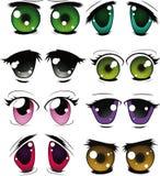 O jogo completo dos olhos desenhados ilustração stock