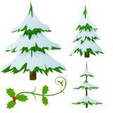 O jogo da neve cobriu árvores de Natal do abeto Fotos de Stock Royalty Free